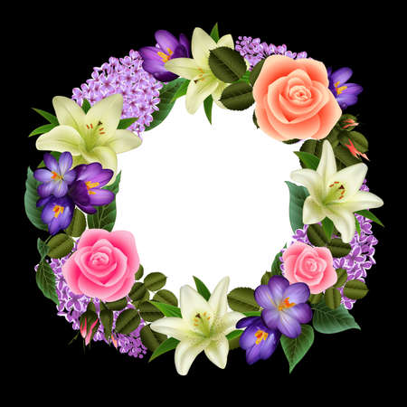 Illustration of greeting or invitation card template with wreath from lily, rose, crocus and lilac flowers