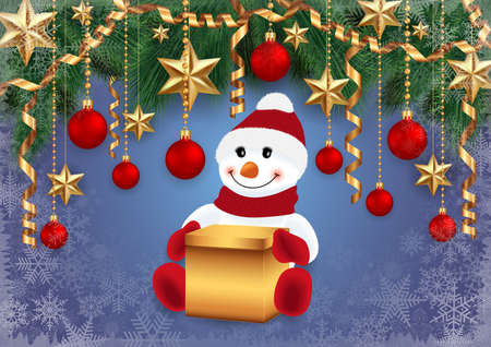 Illustration of snowman with gift box, fir tree branches, Christmas balls, stars, streamers and snowflakes  Illustration