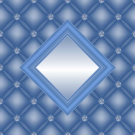 Illustration of upholstery backgrounds with diamond buttons and square frame  Illustration