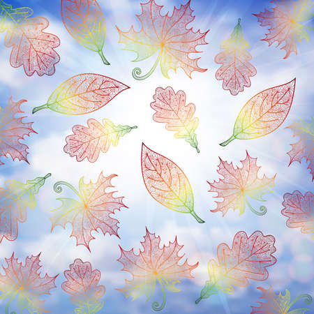 Illustration of colorful autumn doodle leaves and cloudy sky background