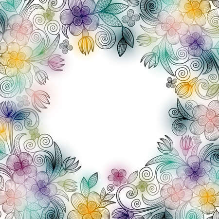 Illustration of template for greeting or invitation card with floral doodle ornament isolated