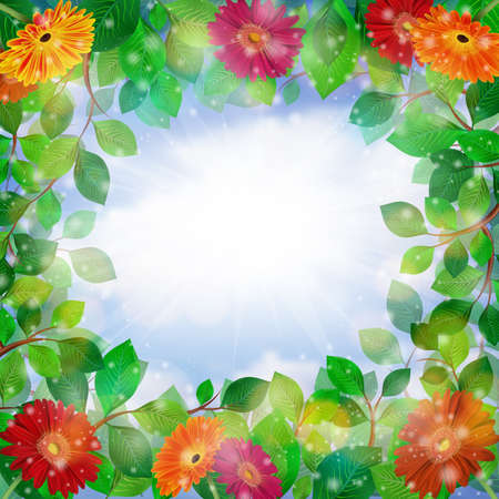 Illustration of frame from green leaves and gerbera daisy flowers with cloudy sky background  Illustration