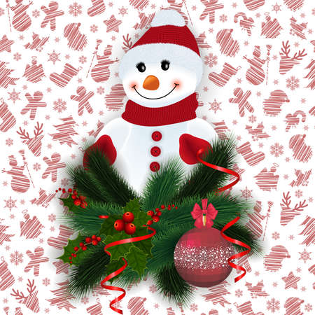 Illustration of snowman with fir tree, holly berry branches, Christmas ball, streamers and background with Christmas symbols isolated. Background is seamless