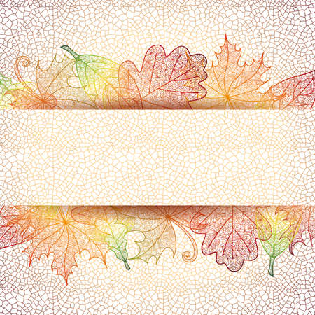 Illustration of autumn doodle leaves with grid background and horizontal banner  Illustration
