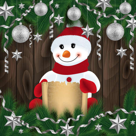 Illustration of snowman with scroll, fir tree branches, Christmas balls, stars, streamers and wood background