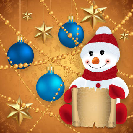 Illustration of snowman with scroll, Christmas balls, gold stars and beads  Illustration