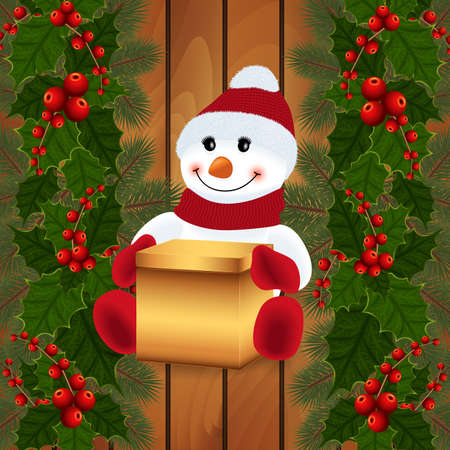 Illustration of snowman with gift box, holly leaves and berries, fir tree branches and wood background