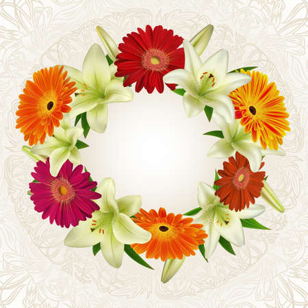 Illustration of greeting or invitation card template with wreath from lily, gerbera daisy flowers and floral ornamental background