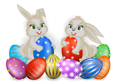 Illustration of Easter greeting card template with bunnies and colorful eggs isolated