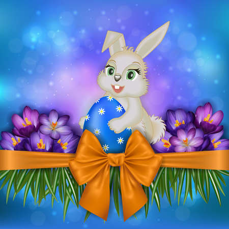 Illustration of Easter greeting card template with bunny, egg, crocus flowers and bow