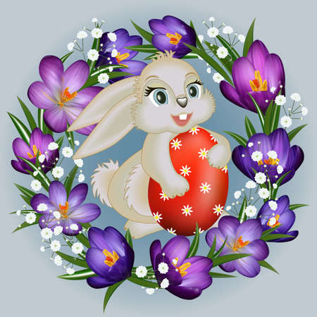 Illustration of Easter greeting card template with bunny, egg and wreath of crocus and gypsophila flowers Illustration