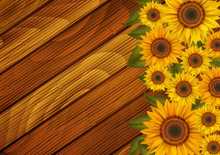 Illustration of sunflowers and leaves on wooden board Vectores