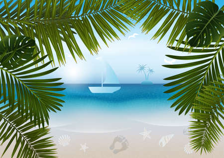 Illustration of abstract seashore background with palm leaves Illustration