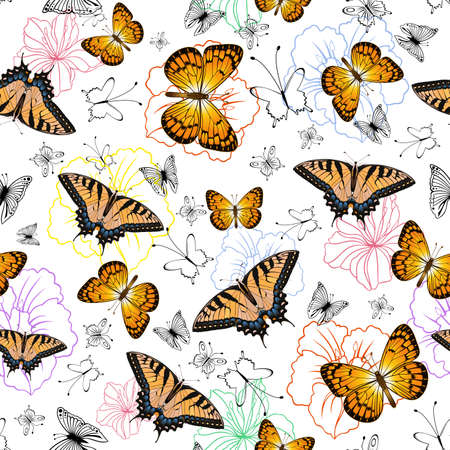 Illustration of seamless pattern with swallowtail, silverspot butterflies and flowers isolated Vector Illustration