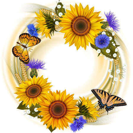 Illustration of floral card template with sunflowers, cornflowers, wheat ears, gypsophila flowers and butterflies isolated Illustration