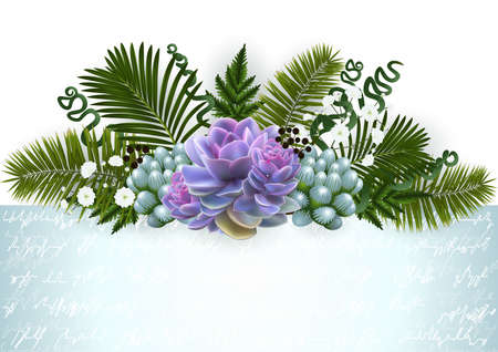 Illustration of floral decoration with palm leaves, succulent plants, gypsophila flowers and horizontal banner Ilustrace