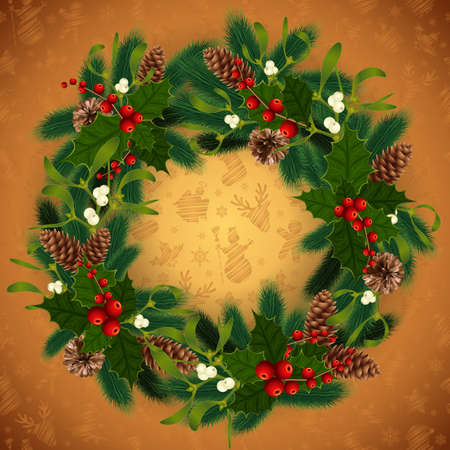 Illustration of Christmas wreath with fir tree branches, mistletoe, holly berries, fir and pine cones and Christmas symbol background 矢量图像