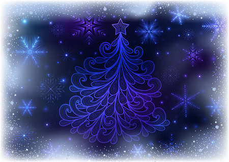 Illustration of Christmas background with neon snowflakes and abstract doodle tree