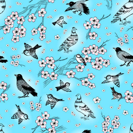 Illustration of seamless pattern with hand drawn magpies, sparrows, pigeons and cherry blossom branches
