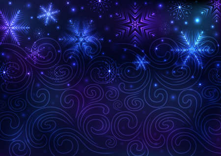 Illustration of Christmas background with neon snowflakes and snowstorm ornament 矢量图像