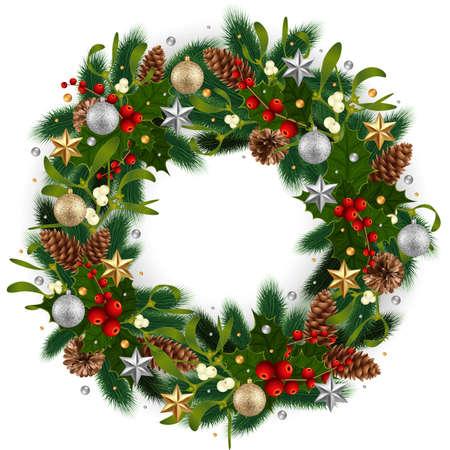 Ilustración de la corona de Navidad con ramas de abeto, muérdago, bayas de acebo, conos de abeto y pino, bolas y estrellas aisladas Ilustración de vector