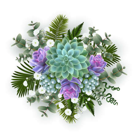 Illustration of floral decoration with palm leaves, succulent plants, gypsophila flowers and eucalyptus