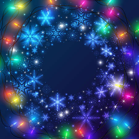 Illustration of greeting or invitation Christmas card template with neon snowflake wreath and colorful lights