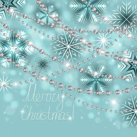 Illustration of Christmas card template with neon snowflakes, silver beads and holiday greetings