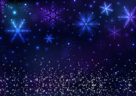 Illustration of Christmas background with neon snowflakes and star sparkles