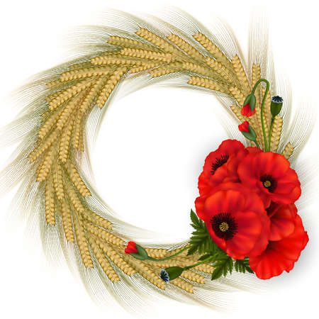 Illustration of template for wedding, greeting or invitation card with wheat ear wreath and poppy flowers isolated