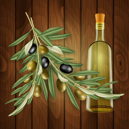 Illustration of realistic olive tree branches, bottle and wood background