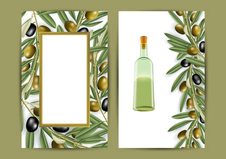 Illustration of banners with realistic olive tree branches and bottle