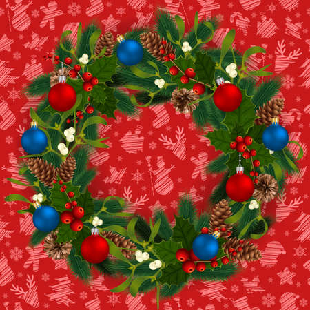 Illustration of Christmas wreath with fir tree branches, mistletoe, holly berries, fir and pine cones, balls and Christmas symbol background