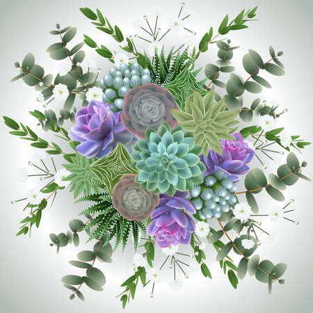 Illustration of floral card template with succulent plants, gypsophila flowers and eucalyptus