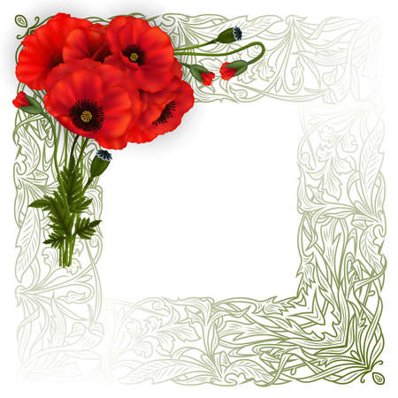Illustration of template for wedding, greeting or invitation card with poppy flowers and floral ornamental frame isolated