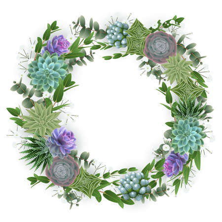Illustration of floral wreath with succulent plants, gypsophila flowers and eucalyptus isolated