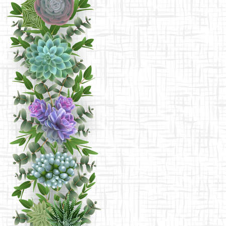 Illustration of floral card template with succulent plants, eucalyptus and cellular background 矢量图像