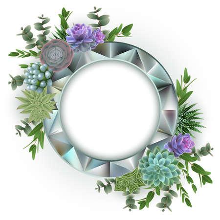 Illustrazione del modello di carta floreale con piante succulente, eucalipto e cornice di diamanti isolata Vettoriali