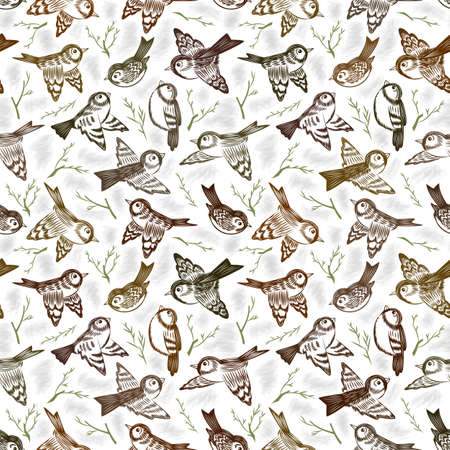 Illustration of seamless pattern with hand drawn birds and sprigs. Sketch sparrows and twigs 矢量图像