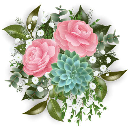 Illustration of floral card template with pink roses, succulent plants, gypsophila flowers, eucalyptus and asparagus fern isolated