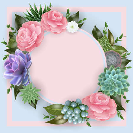 Illustration of floral card template with pink roses, succulent plants, eucalyptus and round banner