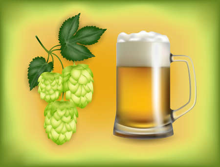 Illustration of beer mug with light beer and hop cones