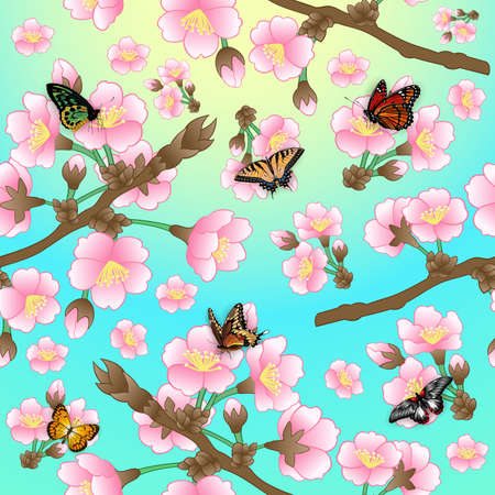 Illustration of pattern with cherry blossom branches and colorful butterflies