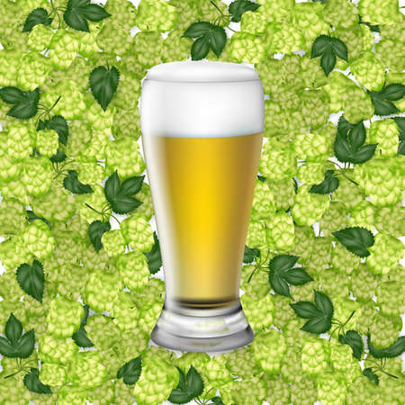 Illustration of beer glass with light beer and hop cones isolated