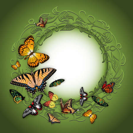 Illustration of floral ornamental frame with swallowtail, silverspot, monarch, fritillary and morpho butterflies