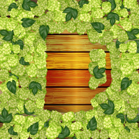 Illustration of hop cones in shape of beer mug and wooden background