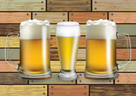 Illustration of beer glass and mugs with light beer on wood background