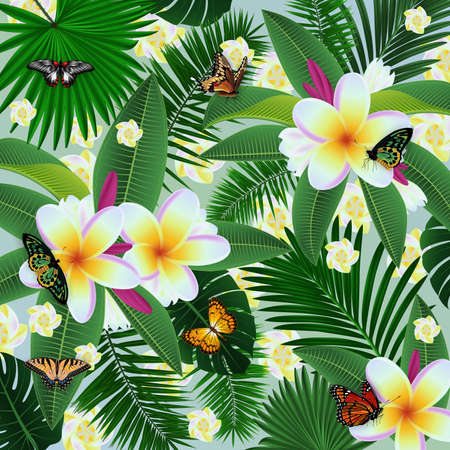 Illustration of tropical floral card template with plumeria flowers, palm leaves and butterflies