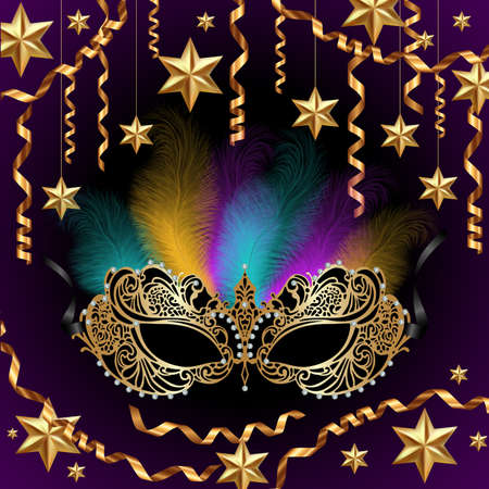 Illustration of card template with carnival mask, feathers, golden stars and streamers Ilustración de vector