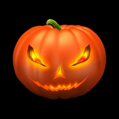 Orange pumpkin on black background - Helloween